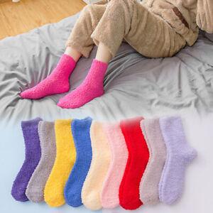 1 Pair Women Bed Socks Lady Bed Lounge Warm Soft Fluffy Slipper Grip Fleece Sock