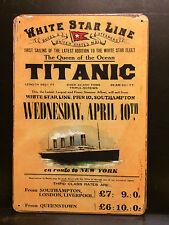 WHITE STAR LINE TITANIC TICKET VINTAGE-RETRO STYLE METAL WALL SIGN  20X30 CM