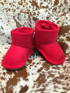 Red Baby Infant Boots Booties Fleece Lined Rubber Sole Warm NEW Various Sizes