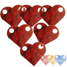 LEGO 12x Coupling Dark Red Plate, Modified 3x2 with Hole 3176 Heart Charm - NEW