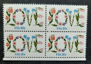 Block of 4 LOVE in flowers 20-cent stamps SC# 1951 MNH