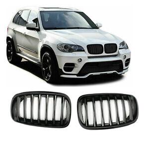 FIT BMW X5 E70 X6 E71 FRONT BUMPER KIDNEY GRILLES GLOSS BLACK ABS 100% OEM FIT