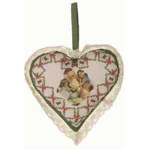 Hängedeko Grosses Stoff Herz Nostalgie Weihnachten Winter Blanc Mariclo