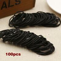 100pcs Elastic Rope Womens Fashion Hair Ties Ponytail Holder Hairbands Black 0