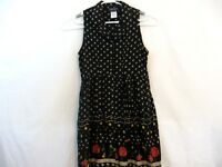 Cascais Of California Black Floral Button Up Collared Dress Size 8 Vintage