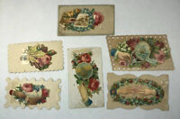 Victorian Die Cut Scrap HIDDEN NAME Calling Card Lot of 6 Doves Tall Ship Boat