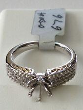 Diamond Engagement ring semi-mount 18k white/yellow gold .50 carat pave set