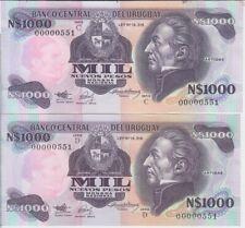 Uruguay P64Aa & 64Ab 1,000 Nuevos Pesos series C&D matching low serial # UNC