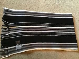BNNT LOVELY 100% WOOL BLACK/TAUPE & WHITE  STRIPED AUTUMN/WINTER SCARF