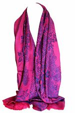 Floral Bordered Two Sided Reversible Soft Pashmina Feel Wrap Shawl Scarf Hijab
