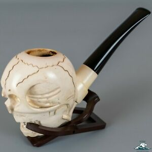Hand-Carved Meerschaum Skull Pipe