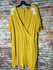 Lane Bryant Jumpsuit Size 22 Mustard Yellow With Keyhole Sleeves