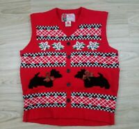 Ugly Sweater Christmas Vest VINTAGE Womens Size XL Red Dogs Holly Jolly Party