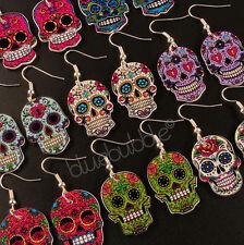 Funky Mexicano azúcar Aretes De Calaveras Halloween Día De Los Muertos Mal Gothic Kitsch