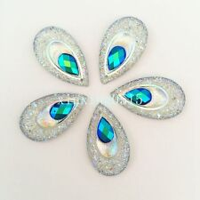 10pcs AB Resin drop Peacock eye Flatback Rhinestone Wedding decoration 2 Hole