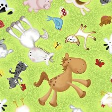 Animal Farm cotton quilt fabric Quilting Treasures Cow Horse Pig Chicken Toss G