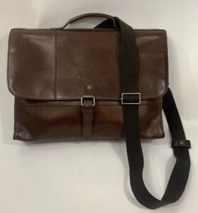 Cole Haan Brown Leather Messenger Bag Business Padded Laptop Rustic Classic