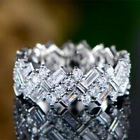 Fashion Crystal Silver Rings White Sapphire Wedding Ring Women Size 7-9 Wedding