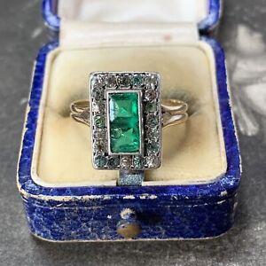 Art Deco 18ct gold paste emerald ring antique paste diamond halo panel design P+