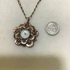 Vintage Estate Rose Gold Tone Mustard Seed PENDANT & Chain NECKLACE Religious