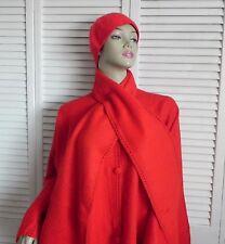 New Womens SZ L Bright Red Alpaca Wool Cloak Cape Ethnic Poncho Scarf Beret Hat