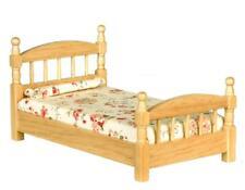 Dolls House Light Oak Single Bed Wooden Miniature Bedroom Furniture