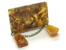 Old Vintage Amber BROOCH Antique Pressed Natural Baltic Amber Beads 16,5g 9766