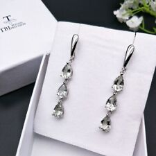 TBJ,7.5ct natural green amethyst clasp ,dangling earring 925 sterling silver