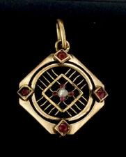 Edwardian Pendant Rubies Rolled Gold Garnets Central Pearl Elegant Beauty C1910s