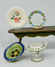 Vintage Ceramic Plates & Urn Lot Dollhouse Miniature 1:12