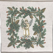"Tapestry Panel Decor Victorian Angel Holding Tree Pine Cone Border 13"" x 13"""