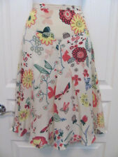 Moschino Cheap And Chic BRIGHT FLORAL PLEATED FRONT FINE SKIRT SIZE 6