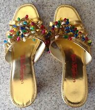 Vintage 50s 60s Made in Hong Kong Gold Beaded Slippers Shoes Size 5
