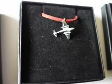 "Gloster Meteor Aircraft Aviation c2 English Pewter On a 18"" Red Cord Necklace"