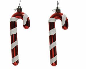 2 Deko Weihnachtsanhänger Zuckerstangen Christbaumschmuck bruchsicher rot weiß