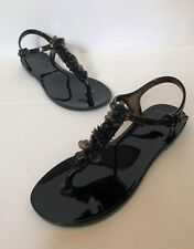 CHANEL BLACK CAMELLIA JELLY THONG SANDAL SHOES 36 US 6 SOLD OUT