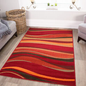 Contemporary Warm Red & Orange Wave Area Rugs Funky Stripe Cheap Small Large Rug