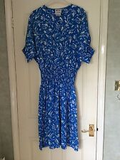 Ladies Maggy London vintage 1980s blue and white silk dress size 12
