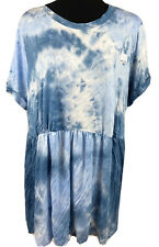 Time and Tru Maternity Blue & White Babydoll Short Sleeve T-shirt New size XXL