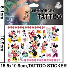 NEW Minnie Mouse Temporary Tattoo Sheet Children Kids Birthday Party Bag Filler