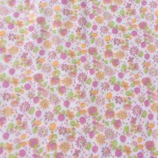 Vintage Floral Cotton Dress Sewing Fabric  Crafts Pink Orange Lime