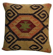 Indian Hand Woven Kilim Cushion Cover 18X8 Jute Pillows Ethnic Decorative Sham