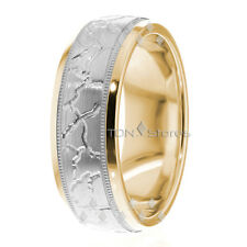 TWO TONE WEDDING BANDS 10K SOLID GOLD MENS WOMENS CARVED WEDDING BAND RINGS SET