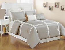 8 pc. Faux Silk, Light Metallic Taupe and White Striped King Size Comforter Set