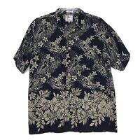 Marc Edwards 100% Rayon Hawaiian Floral Shirt Mens Size XL Blue Short Sleeve