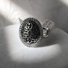 Lia Sophia Antiquity Ring Size 5 6 NWT SilverTone Black Inlay Halo Cz Oval Frame
