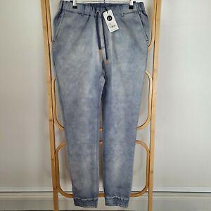 NEW Beau Hudson Size M Medium 32/34 Blue St Tropez Denim Chino Jogger Jeans