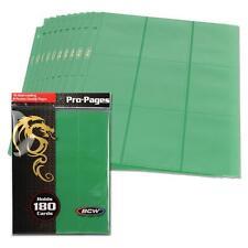 10 BCW GAMING SIDE LOADING 18-POCKET PRO BINDER PAGES - MTG - GREEN