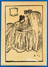 Victorian Woman with Baby Bassinet Rubber Stamp - Newborn Nursery Cradle Mother