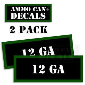 "12 GA GAUGE Ammo Can Stickers Ammunition Gun Case Labels Decals 2 pack 3""wide"